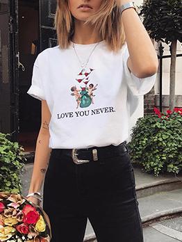 Simple Design Printed Short Sleeve T-Shirt