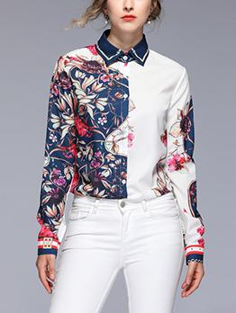 Stylish Patchwork Floral Turndown Collar Blouse