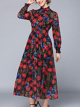 Vintage Elegant Printing Chiffon Long Sleeves Dress
