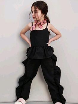 Black Ruffles Strap Girl 2 Pieces Pants Sets
