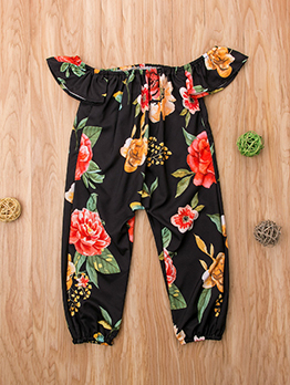 Boat Neck Ruffles Baby Girl Flower Jumpsuits