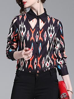 Turndown Neck Geometric Printed Womens Shirts