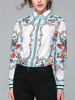 Euro Single-Breasted Printed Womens Shirt