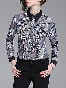 Color Block Turndown Collar Women Blouse