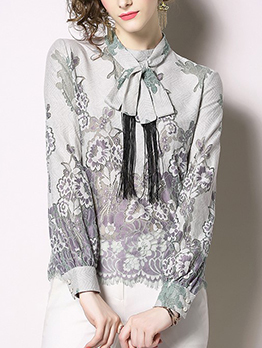 High-End Lace Patchwork Ladies Blouse