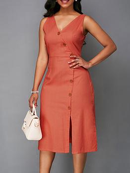 Simple Design V Neck Solid Sleeveless Dress