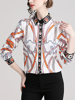 Euro Turndown Collar Printing Button Up Blouse