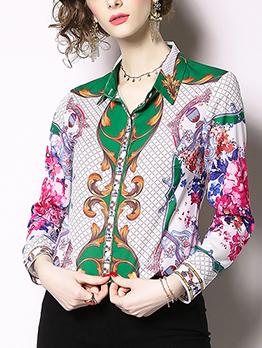 Turndown Neck Flower Print Fashion Blouse