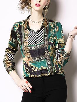 Retro Style Printing Blouse For Women
