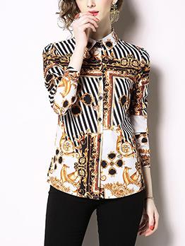 Royal Court Print Striped Turndown Collar Blouse