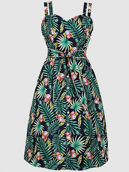 Leaves Printing V Neck Green Women Dresses