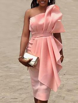 Blush Coloured Ruffle Strapless Fashion Dress