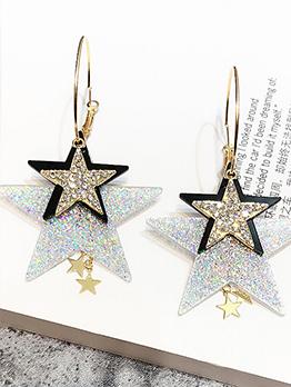 Chic Triple Stars Tassel Large Ring Earrings