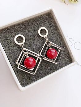 Geometric Design Cherry Beads Earrings