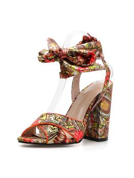 Bohemian Printing Lace Up Cross Chunky Heel Sandals