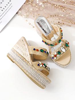 Stylish Multi Color Diamond Weave Platform Tan Slippers