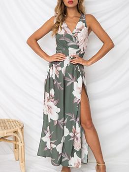 Special Design V-neck Floral Slit Women Jumpsuit