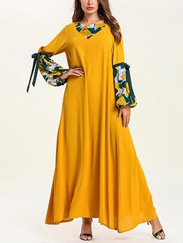 Crew Neck Print Maxi Muslim Dress
