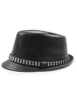 British Style Rivets Pu Fedora Hat