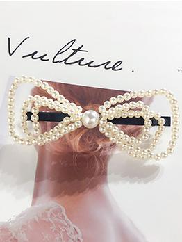 Sweet Bow Pearls Hair Clip