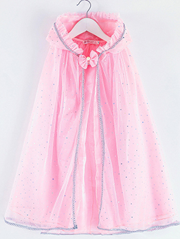 Girls Binding Bow Hooded Gauze Long Cloak