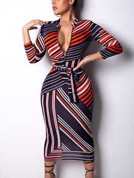 Sexy V Neck Striped Maxi Dress