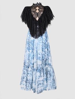 Boutique Elegant Lace Gauze Patchwork Party Dress
