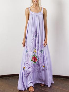 Bohemian Embroidery Straps Maxi Dresses