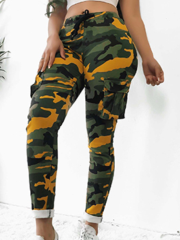 Hot Sale Camouflage Printed Fitted Elastic Pants