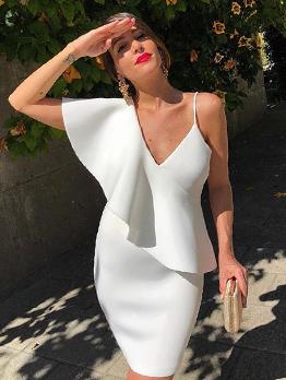 Sexy V Neck White Pencil Dress