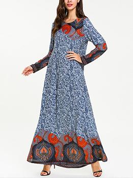 Casual Crew Neck Print Muslim Maxi Dress