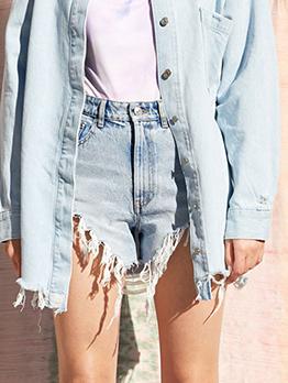 Chic Tassels Denim High Waisted Shorts