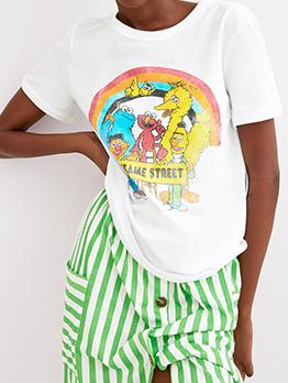 Summer Cartoon Printed Crew Neck T Shirt