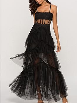 Boutique Gauze Patchwork Solid Straps Maxi Dress