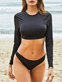Crew Neck Long Sleeves Black Swimsuit