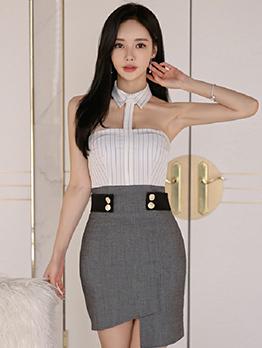 Sexy Striped Halter Dress For Women