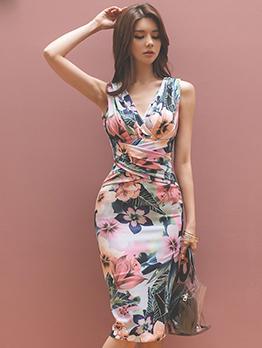 V Neck Draped Floral Bodycon Dress