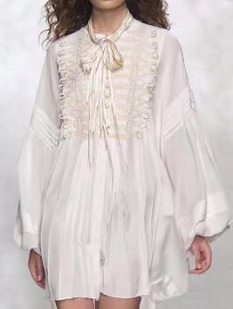 Vintage Bow Collar Lace Panel Lantern Sleeve White Dresses