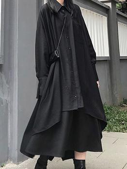 Stylish Irregular Button Up Black Shirt Dresses