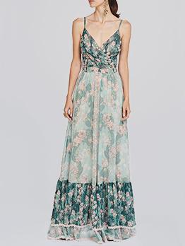 Summer Ruffles Floral V-Neck Ruched Maxi Dresses