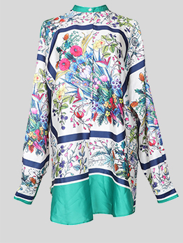 Summer Printing Stand Neck Button Boutique Shirt Dresses