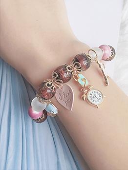 Bohemian Multicolored Beaded Clock Design Bracelet