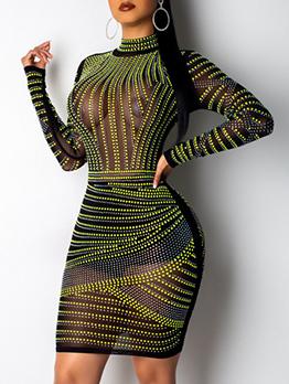 Sexy Hot Drill Mock Neck Black Mesh Dresses