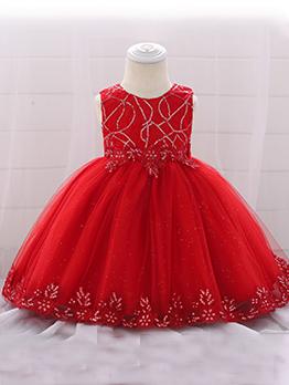 Sequin Sheer Fluffy Sleeveless Dress For Girl