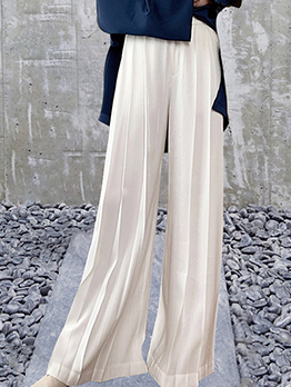 Simple Pleated Design Casual Wide Leg Pants
