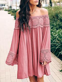 Simple Design Off The Shoulder Long Sleeve Dress