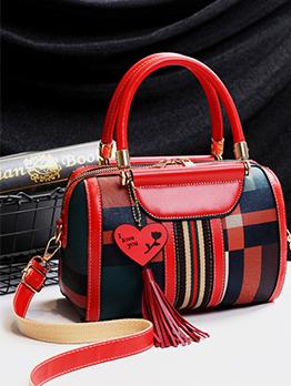 Irregular Plaid Tassel Detail Handbag