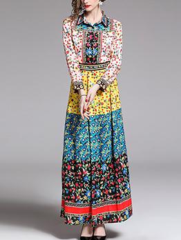 Fashion Contrast Color Printed Maxi Dress
