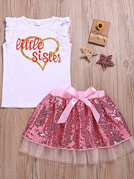 Little Sister Vest With Gauze Bow Sequin Skirt
