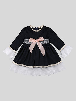 Lace Patchwork Bow Baby Girls Dresses
